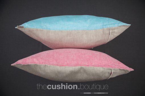 Set of 2 Chambray & Linen cushions with a pop of colour