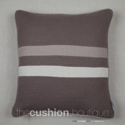 elegant stonewashed linen cushion with 2 horizontal stripes in subtle grey hues