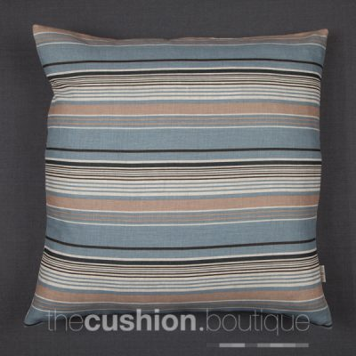 Cushion with subtle shades of blue & beige stripes