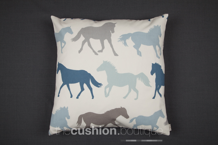 Rows of horses in shades of blue, grey & taupe on white