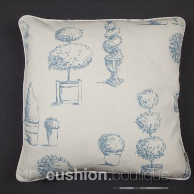 Topiary designs printed in Wedgwood blue on linen