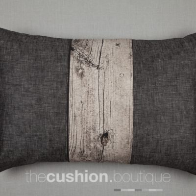 Dark grey Chambray with detailed overlaid pleat in wood effect fabric