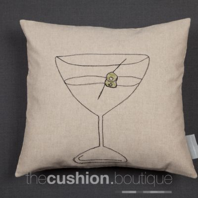 Cocktail glass handmade cushion with free machine embroidery