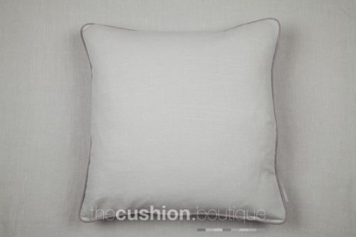 Classic elegant stonewashed linen handmade cushion in soft greys with piping detail