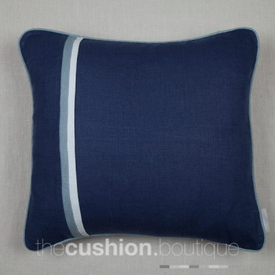 French Navy handmade linen cushion with pleated front detail and piping